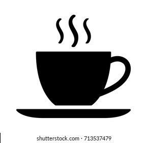 A cup of hot cafe coffee or caffeine drink flat vector icon for food apps and websites