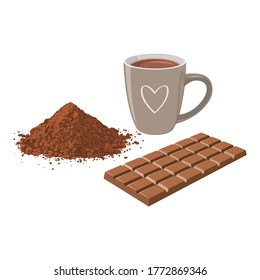 A cup of hot chocolate with chocolate bar and cocoa powder.