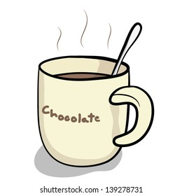 cup of hot chocolate and spoon  / cartoon vector and illustration, isolated on white background.