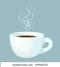 Cup of hot coffee with abstract steam. Isolated design element. Vector file is EPS8, all elements are grouped.