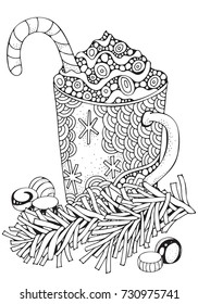 Cup with hot coffee. Adult Coloring book page. A4 size. Christmas decoration. Hand-drawn vector illustration. Black and white Pattern. Zentangle.