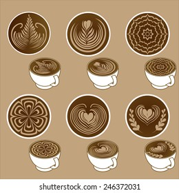 Cup of hot coffee with Latte Art