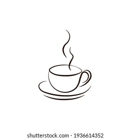 A cup of hot coffee. Logo icon. Vector illustration