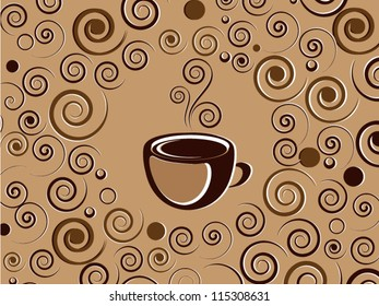 Cup of hot coffee or tea drink with ornament and floral elements
