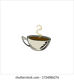 Cup Of Hot Coffee. Vector Illustration.