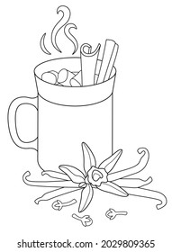 Cup of hot drink, marshmallows and cinnamon, pods and flower of vanilla and carnation - vector linear illustration for coloring. Outline. Mug of hot for coloring book with steam spices