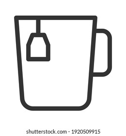 Cup of hot tea with a bag. Simple food icon in trendy line style isolated on white background for web apps and mobile concept. Vector Illustration. EPS10