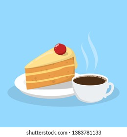 Cup of a hot tea with a tasty delicious peace of a bithday cake. Sweet bakery and hot beverage. Yummy pie. Isolated vector illustration in cartoon style