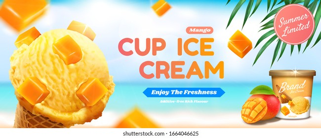 Cup ice cream banner ads with fruit topping ice cream cone on bokeh summer beach background in 3d illustration