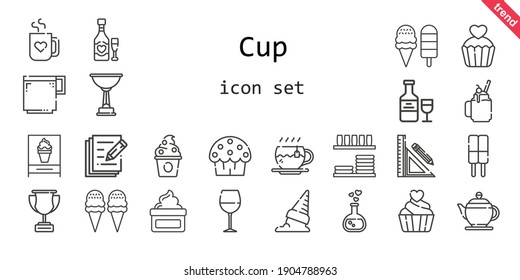 cup icon set. line icon style. cup related icons such as smoothie, wine glass, cup cake, dinnerware, teapot, cream, love potion, frozen yogurt, tea, ice cream, coffee cup, stationery, trophy, write