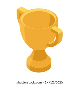 Cup icon, winner and competition. Trophy or award for champion, isometric vector illustration. Isolated on white background.