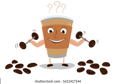 A cup lifts dumbbells made of coffee beans to boost energy. Editable Clip Art.