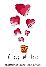 A cup of love Illustration.Valentines day concept.