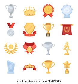Cup, medal, pennant, and other elements. Awards and Trophies set collection icons in cartoon style vector symbol stock illustration web.