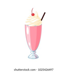 Cup of milkshake with cream and cherry on top. Vector illustration cartoon flat icon isolated on white.
