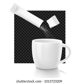 Cup with package stick. Vector illustration on dark background, ready and simple to use for your design with different background.