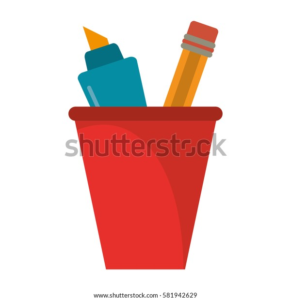 cup pencil school utensil