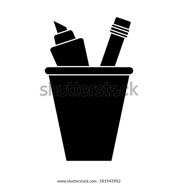 cup pencil school utensil pictogram