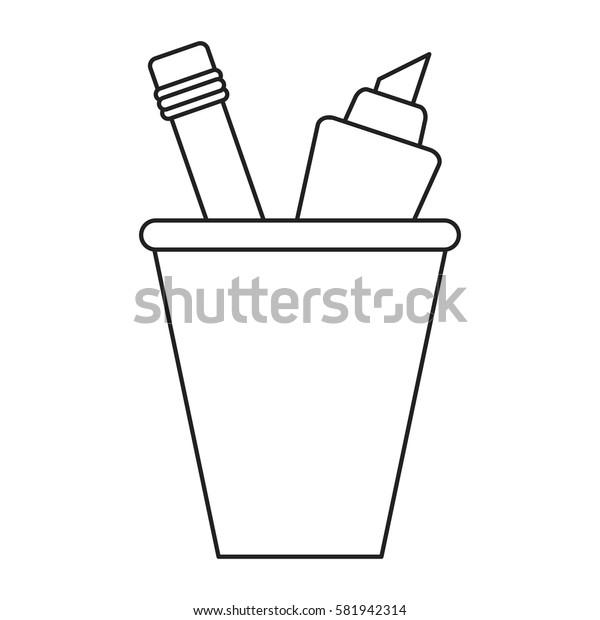 cup pencil school utensil thin line
