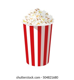 The cup of popcorn. Vector Popcorn isolated on white background.