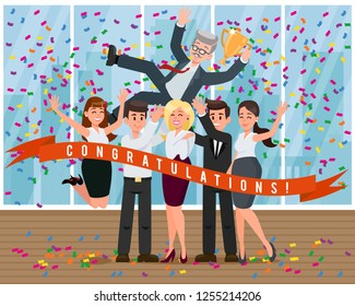 Cup Reward Leader. Congratulations from Colleagues and Toss Up Boss. Business Development Company. Human Resource. Working Time. Teamwork Concept. Teambuilding in Office. Vector Flat Illustration.