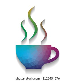 Cup sign with three small streams of smoke. Vector. Colorful icon with bright texture of mosaic with soft shadow on white background. Isolated.