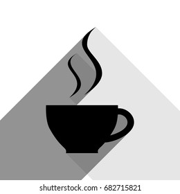 Cup sign with two small streams of smoke. Vector. Black icon with two flat gray shadows on white background.