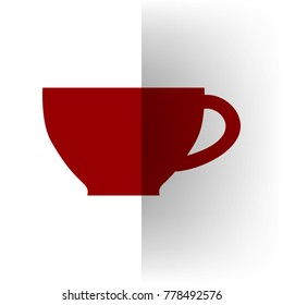 Cup sign. Vector. Bordo icon on white bending paper background.