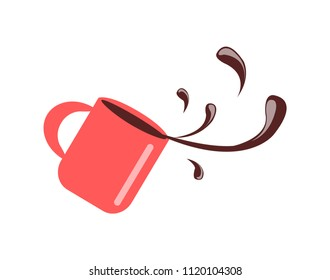 Cup with spilling coffee closeup, red mug with beverage giving energy in morning, falling container having handle isolated on vector illustration