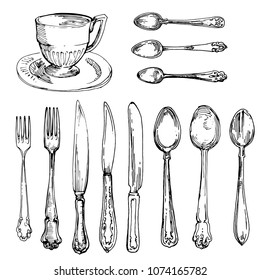 Cup, Spoon, Fork and Knife kitchen stuff silverware vintage hand drawn collection vector illustration Ink doodle sketch