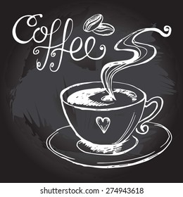 Cup of steaming coffee, vector hand-drawn illustration
