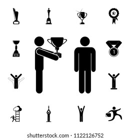 Cup submission to the winner icon. Detailed set of Sucsess and awards icons. Premium quality graphic design sign. One of the collection icons for websites, web design, mobile app on white background