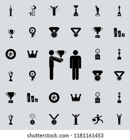 Cup submission to the winner icon. Sucsess and awards icons universal set for web and mobile