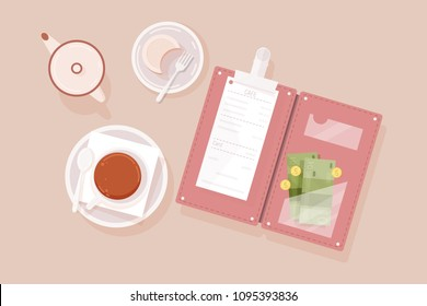 Cup of tea, cake on plate, creamer, opened bill holder with restaurant check, money banknotes and coins, top view. Guest's payment for cafe service. Colorful vector illustration in flat style