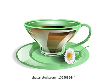 cup of tea with chamomile flower on white