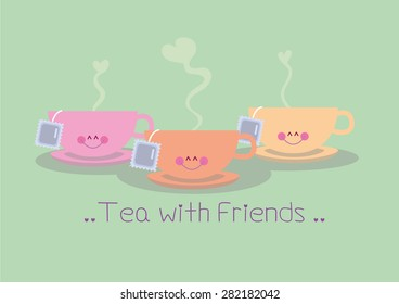 Cup Tea with friends vector