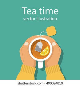 Cup of tea in hands of men. Brewed bag tea with lemon. Man warming hands touching a hot cup of tea. Time relax. Vector illustration flat design. Isolated on background.