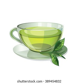 A cup of tea isolated on white background. Health drink green tea in a glass cup. Vector illustration.