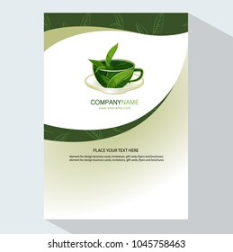 Cup of tea with leaves logo template design. Brochure flyer design template vector.  Trendy style with cup of tea with leaves. Element for design invitations, gift cards, flyers and brochures.