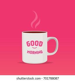 Cup of tea, Morning coffee, Cup of coffee, Good Morning, Breakfast, Cup breakfast, Cartoon illustration
