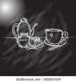 cup of tea on a black background
