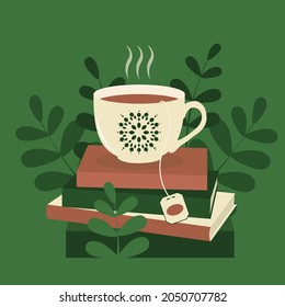 A cup of tea on a stack of paper books. Cozy reading at home or in the library. Green shades. Vector.