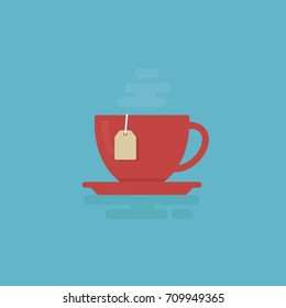 Cup Of Tea With Steam Illustration. Tea Time Concept. Flat Design