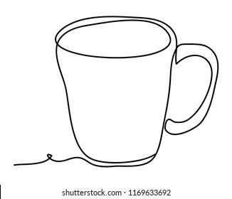Cup of tea Vector illustration isolated on white background. Continuous line drawing. Vector monochrome, drawing by lines