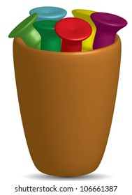 Cup Of Tees, selection of golf tees in different colors in a cup.Vector,EPS10
