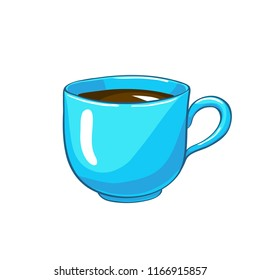 Cup. Vector flat illustration of mug with tea or coffee isolated on white background