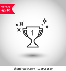 Cup vector icon. First place cup sign. Reward victory cup symbol. Goblet icon. Ceremony contest cup icon. EPS 10 flat symbol.