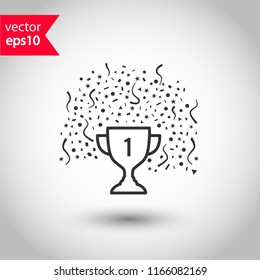Cup vector icon. First place cup sign. Reward victory cup symbol. Goblet icon. Ceremony contest cup icon. Goblet with confetti icon. EPS 10 flat symbol.
