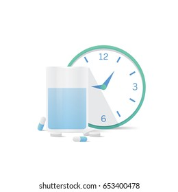 Cup of water and clock  and capsules medicine and pills illustration vector on white background. Health concept.