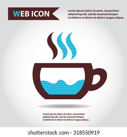 Cup web icon with vapor, flat, vector.